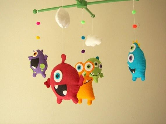 """Baby crib mobile, Monster mobile, Alien mobile, felt mobile, nursery mobile """"Monster Friends"""""""