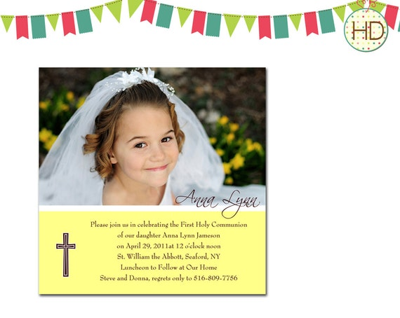 First Communion Invitation, Communion Party, First Holy Communion Announcement, Photo Communion Invitation