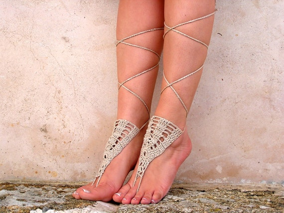 Beigecrochet sandals. barefoot sandals, barefoot sandles,  crochet barefoot sandals, jewelry for the foot