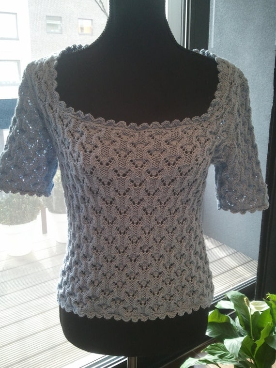 Romantic Summer Cotton Top with crochet finishing