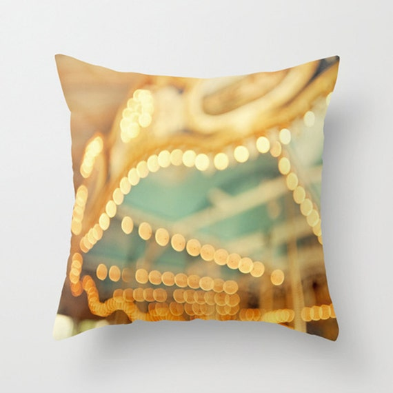 Carousel Pillow Cover Carnival Pillow Teal Home Decor Decorative Pillow - 16 x 16 Pillow