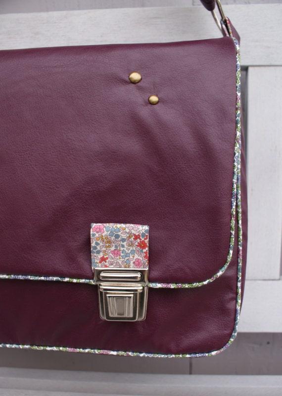 Grand sac à main cartable simili prune et Liberty