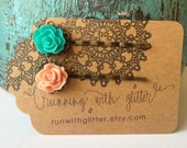 Teal and Peach Rose Bobby Pin Set