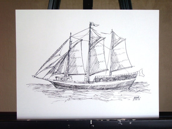 Original Ink Drawing, Sailing Ship/Schooner
