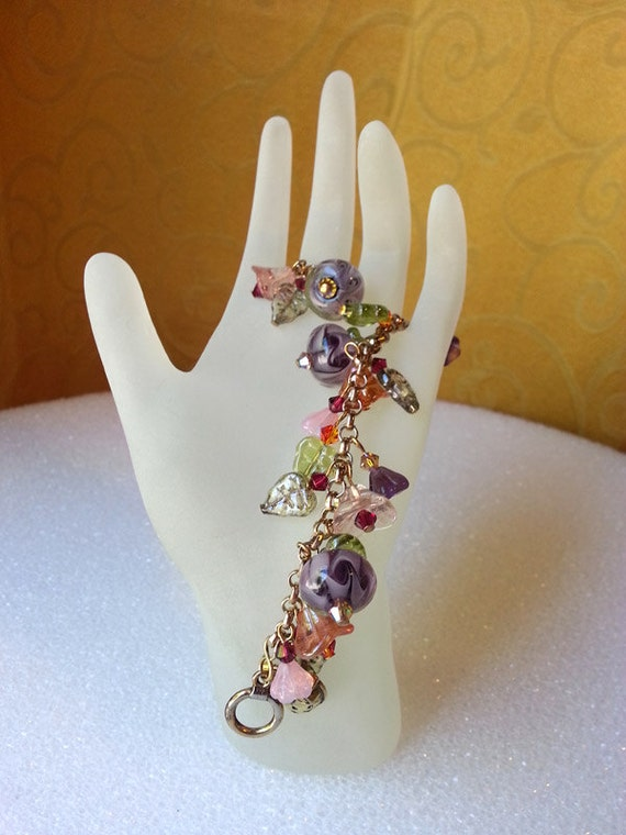 Mother's Day Crystal Charm Bracelet with Lampwork Beads and Swarovski Crystals