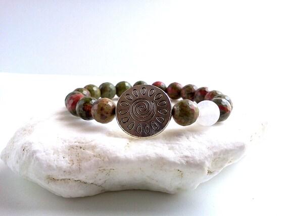 Unakite Sun bracelet, Sun bracelet, Unakite bracelet, Balancing and meditation bracelet, Stretchy bracelet