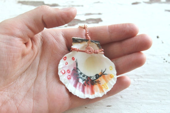Krill Necklace - Hand Painted Seashell (Krampton)
