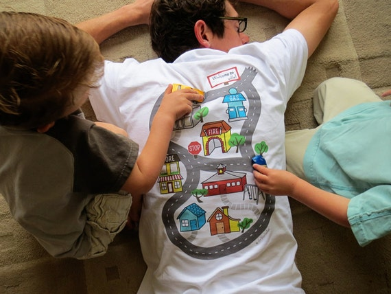 bd7ed004 Car Play Shirt (Size L) - Full color map for kids to drive cars