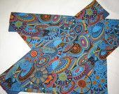 African-Inspired Tribal Pattern in Blues, Reds, Yellows and Oranges Large Dog Scarf Over the Collar Dog Bandana - CarolsDogScarves