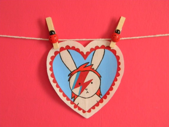Hand painted patch - Wearable art (Bowie Bunny)