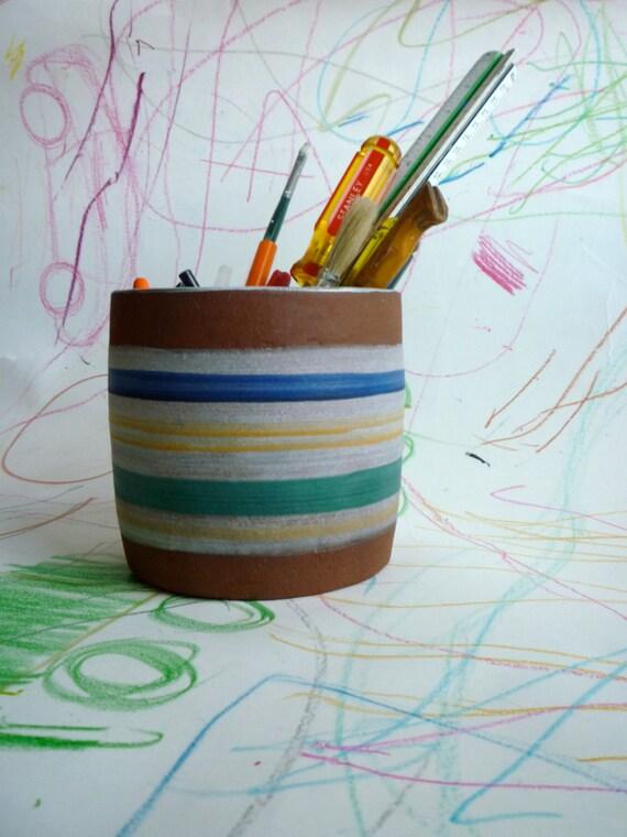 utensil holder french green striped jar