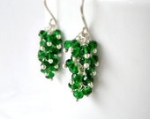 Emerald Green Earrings Gemstone Cluster Drop Dangle Quartz Kelly Green Wire Wrapped Fine Silver Kande - Kande