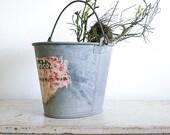 Vintage Oval Pail / Galvanized Metal Bucket / Industrial Decor - RobertaGrove