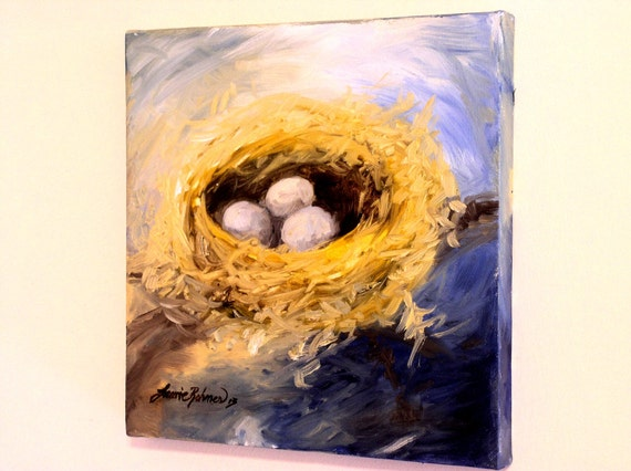 Nature Art Woodland Bird Nest Oil Painting Original Artwork Laurie Rohner