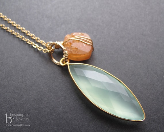 Nectarine and Mint - Sunstone Druzy and Aqua Green Chalcedony Charm Necklace in 14k Gold Fill (one of a kind)