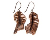 Metalwork Earrings, Fold Form Jewelry, Hammered Copper Earrings, Copper Jewelry, Tribal, Rustic, Earthy, Rust