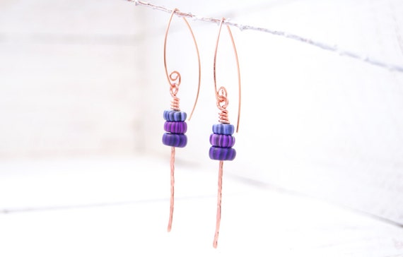 Hammered Copper Modern Art Jewelry Earrings with Violet Purple Polymer Clay Gypsy Trade Beads