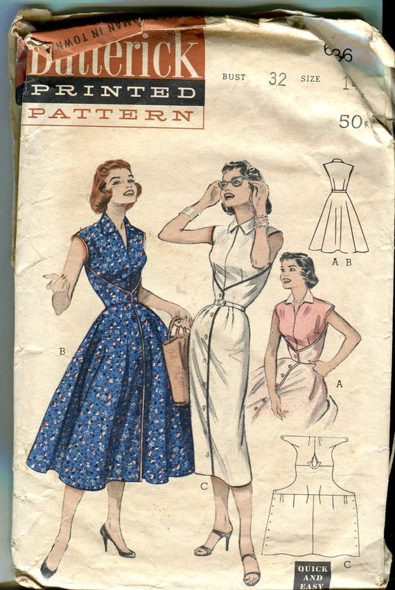 Butterick 6836 Vintage 50s  Not Quite Walk-Away Dress Pattern