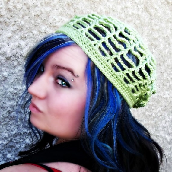 Web Slouchy/ Beanie/Tam/ Beret  - Crocheted , Spring, Summer, Open, Pistachio