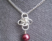 Chainmaille Persephone Pendant with Burgundy Pearl