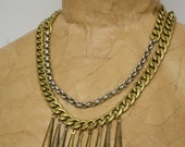 Vintage Brass Link Chain and Silver Rolo Chain Necklace