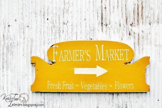 FARMERS MARKET - Handpainted Wooden Sign on Antique Bed Headboard Salvage