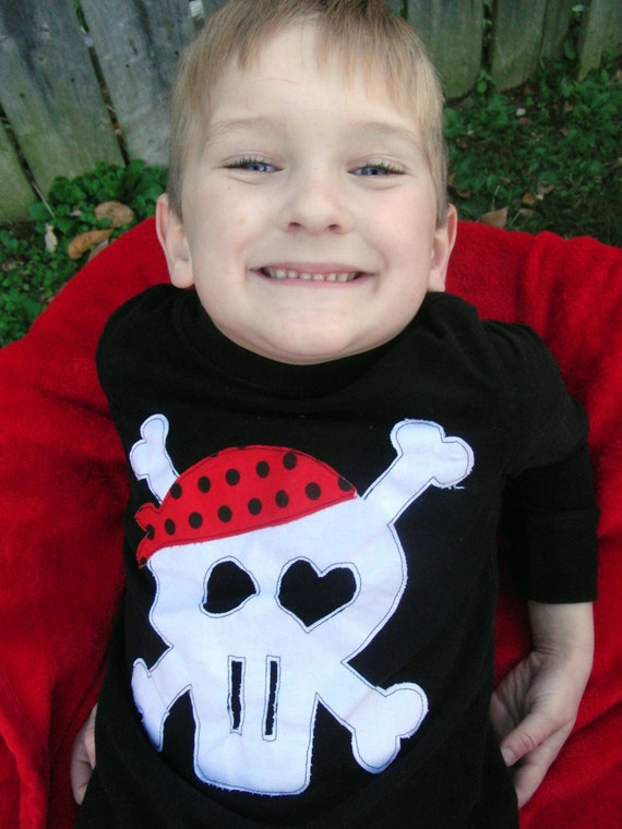 Boy Pirate T Shirt - Long Sleeve - Sizes 12m thru 12 - Red,Black and White