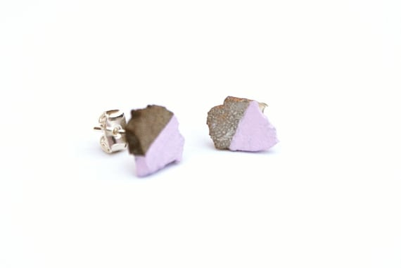 Purple Dinosaur Fossil Earrings - Natural Genuine Fossilised eggshell fragments from the Cretaceous, sterling silver earrings, half lilac