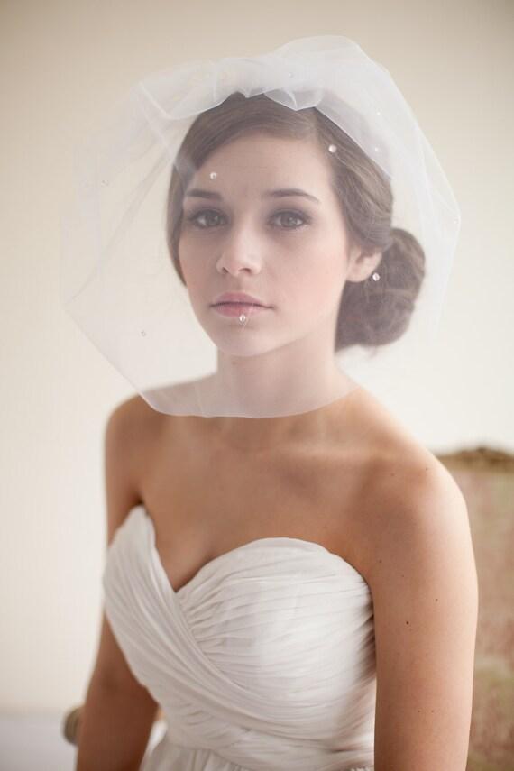 Tulle Teardrop Blusher Veil Birdcage Veil - Angelina  MADE TO ORDER