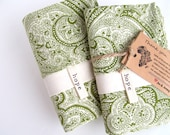 Pillowcases Paisley Olive Green Cream Hope Set-Africa Adoption Fundraiser