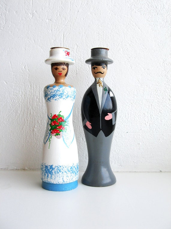 Turquoise Bride, Lady in Blue, Vintage Candle Holder, 80s vintage, Home Decor Figurine