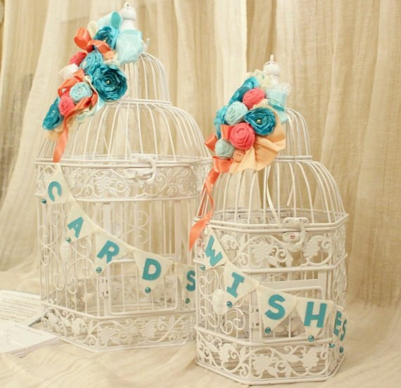 SALE-Wedding Card Holder and Wishes Bird Cage Set, Tiffany Blue Oasis Malibu Corn Flower Coral Peach Coral Reef 1016