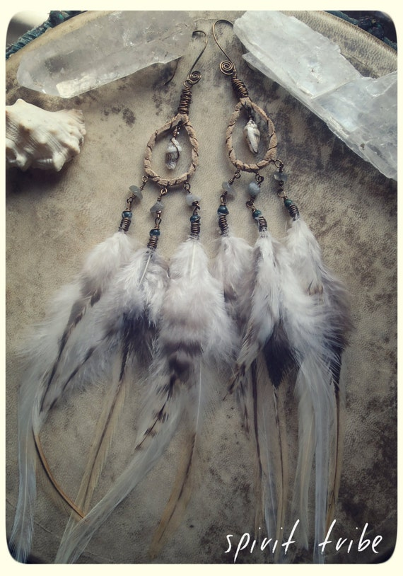 beach baby...  gypsy boho sea shell and feather earrings