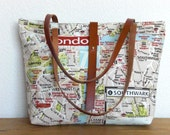 Cotton Tote bag with leather handles - London map
