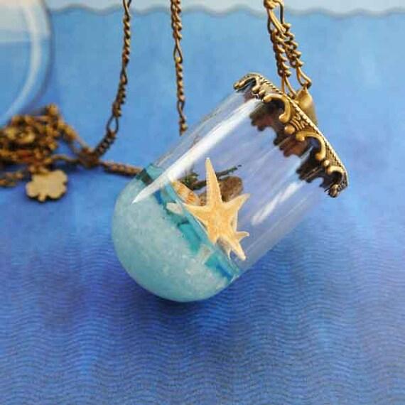 10% SALE Necklace Summer in a Bottle Seastar Seashells Blue Beach Sea Sand