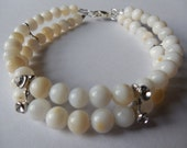 Pearl/White Double Strand Beaded Bracelet with Rhinestone Connectors
