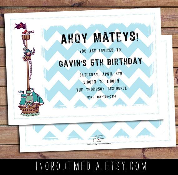Chevron Birthday Party Invitations - boy birthday invites, pirate theme, party invitations, sailboat nautical invitations