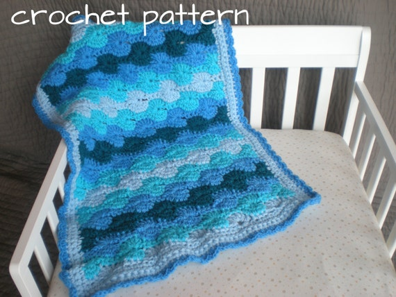 Crochet Baby Blanket - Ocean Waves - Quick & Cozy Series - PDF Pattern
