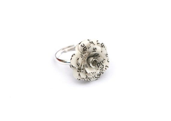 Book Page Flower Ring - eco whimsical ring made from the pages of a book on an Adjustable silver tone Base