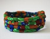 Kente Pattern African Block Print Fabric-Wrap Coil Bracelet