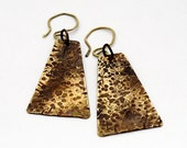 Ancient Egyptian Inspired Earrings, Hammered Brass, Bronze, Heat Colored, Textured, Dangle Earrings