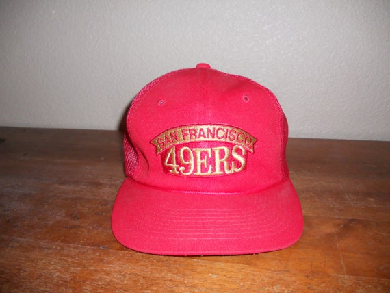 vintage San Francisco 49ERS 80s 90s hat cap snap back mesh   red forty niners   SF