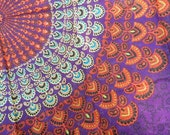 Hippie Tapestry Fabric Colorful Bohemian Starburst Pattern - Purple - SticksandStonesHemp1