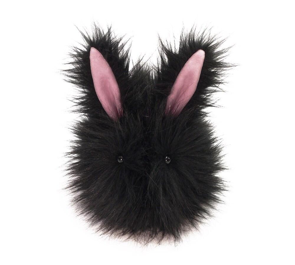 Ebony the Easter Bunny Stuffed Toy Black Faux Fur Plushie - Large Size