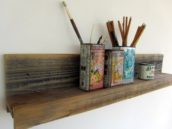 30 inch rustic wall-mounted reclaimed wood shelf for the home, kitchen, bathroom, studio and office -- upcycled recycled repurposed