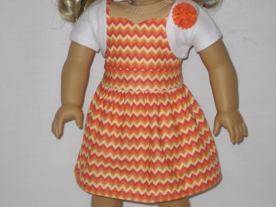 American Girl Doll Clothes - Orange Chevron Dress with Shrug