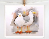 Seagulls - Original Watercolor Painting - Mothers Day - Bird Painting, Nature Art - Kids Women men - Grey - Nautical Ocean - 8.5 x 8.5 - LaBerge