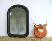 Antique Wall Mirror Arched Frame / Vintage Mens Shaving Mirror Mercury Glass Look - BirdinHandVTG
