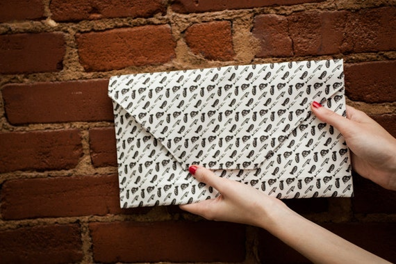 Brass Instruments envelope clutch by Abby Galloway photographed by Quinton VanMeter