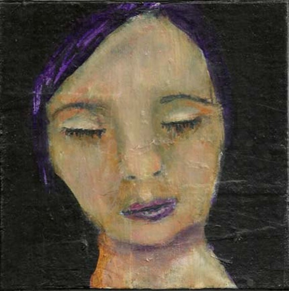 Acrylic Portrait Painting Woman with eyes closed 6x6 canvas board Purple Hair